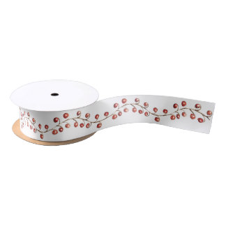 Christmas Watercolor Berries   Ribbon Satin Ribbon