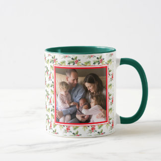 Christmas Watercolor Berry & Pine Pattern Mug