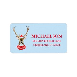 Christmas   Watercolor - Blue Santa Reindeer Label