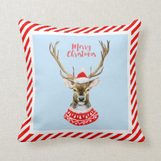 Christmas | Watercolor - Blue Santa Reindeer Throw Pillow