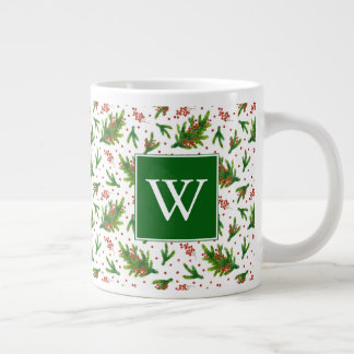 Christmas Watercolor Branches & Berries Pattern Large Coffee Mug