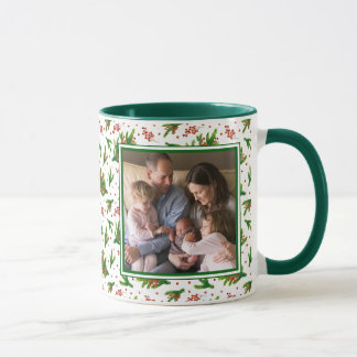 Christmas Watercolor Branches & Berries Pattern Mug