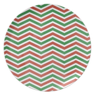 Christmas Watercolor Chevron Dinner Plates