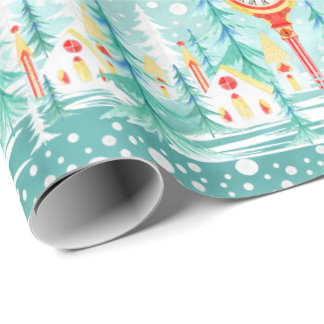 Christmas watercolor Church party wrap Wrapping Paper