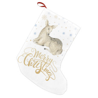 Christmas | Watercolor - Cute Winter Deer Small Christmas Stocking