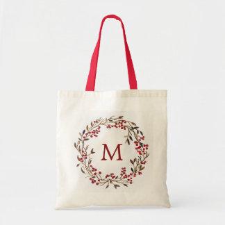 Christmas | Watercolor - Festive Berries Wreath Tote Bag