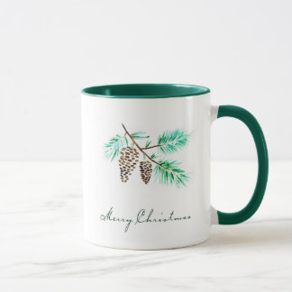 Christmas | Watercolor - Festive Pinecones Quote Mug