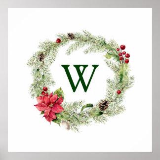 Christmas | Watercolor - Festive Poinsettia Wreath Poster