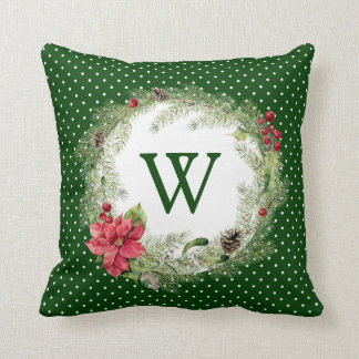 Christmas | Watercolor - Festive Poinsettia Wreath Throw Pillow