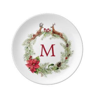 Christmas   Watercolor - Festive Reindeer Wreath Plate
