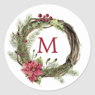 Christmas   Watercolor - Floral Christmas Wreath Classic Round Sticker