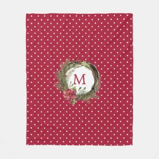 Christmas | Watercolor - Floral Christmas Wreath Fleece Blanket