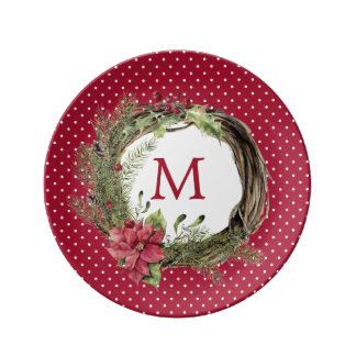 Christmas   Watercolor - Floral Christmas Wreath Plate