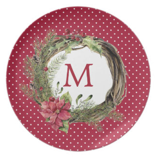 Christmas | Watercolor - Floral Christmas Wreath Plate