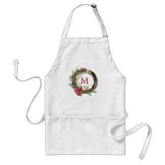 Christmas | Watercolor - Floral Christmas Wreath Standard Apron