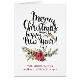 Christmas | Watercolor - Happy New Year Poinsettia Card