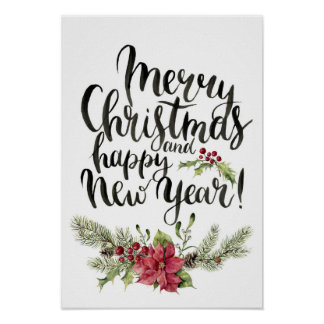 Christmas | Watercolor - Happy New Year Poinsettia Poster