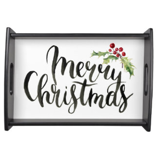 Christmas | Watercolor - Happy New Year Poinsettia Serving Tray