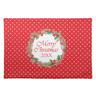 Christmas   Watercolor - Holly & Gingham Bow Wreat Placemat