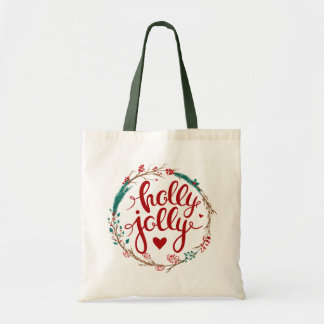 Christmas | Watercolor - Holly Jolly Wreath Tote Bag