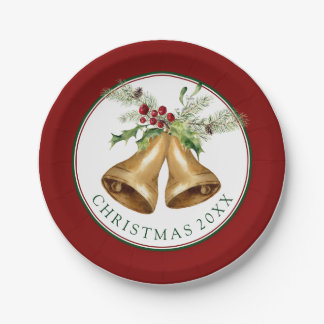Christmas | Watercolor - Holly Mistletoe & Bells Paper Plate