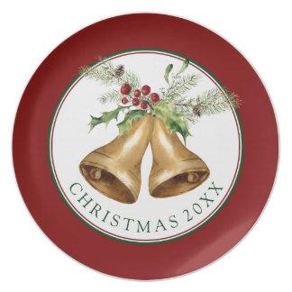 Christmas | Watercolor - Holly Mistletoe & Bells Plate