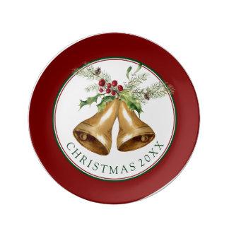 Christmas   Watercolor - Holly Mistletoe & Bells Plate