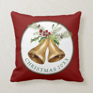 Christmas   Watercolor - Holly Mistletoe & Bells Throw Pillow