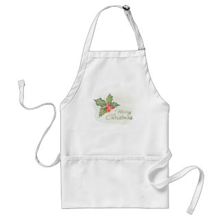 Christmas | Watercolor - Holly Typography Quote Standard Apron