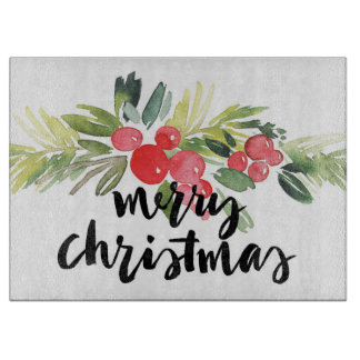 Christmas | Watercolor - Merry Christmas Holly Cutting Board
