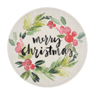Christmas | Watercolor - Merry Christmas Wreath Cutting Board