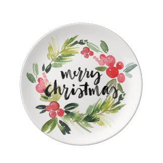 Christmas   Watercolor - Merry Christmas Wreath Plate