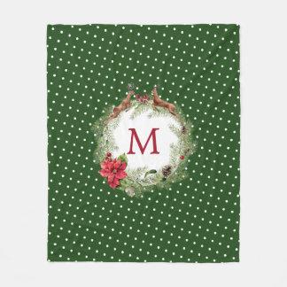 Christmas Watercolor Mistletoe Deer Holly Wreath Fleece Blanket