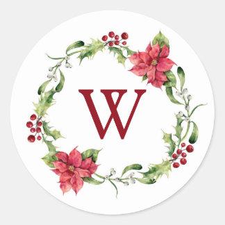 Christmas   Watercolor - Mistletoe & Holly Wreath Classic Round Sticker
