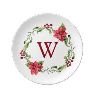 Christmas   Watercolor - Mistletoe & Holly Wreath Plate