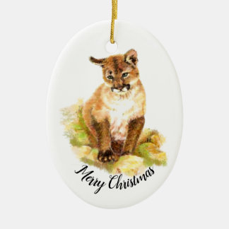 Christmas  Watercolor Painting of a Cougar cub Ceramic Ornament