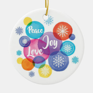 Christmas | Watercolor - Peace Love Joy Quote Ceramic Ornament