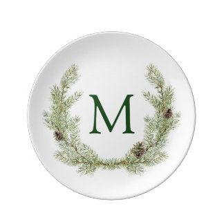 Christmas   Watercolor - Pinecone Wreath Plate