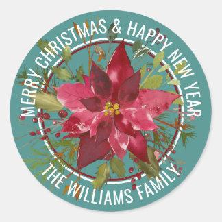 Christmas Watercolor Poinsettia Classic Round Sticker