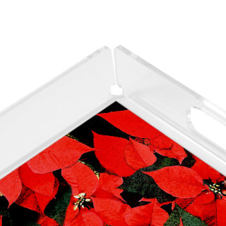 Christmas Watercolor Poinsettias Black Background Acrylic Tray