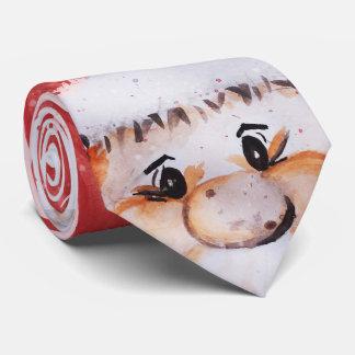 """Christmas watercolor Santa Claus """"Joy Love Peace"""" Tie"""