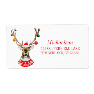 Christmas Watercolor Santa Deer With Ornaments Shipping Label