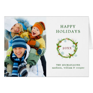 Christmas | Watercolor - Snowflake & Holly Wreath Card