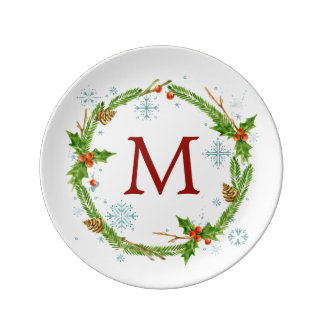 Christmas   Watercolor - Snowflake & Holly Wreath Plate
