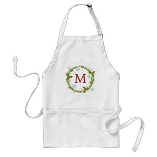 Christmas | Watercolor - Snowflake & Holly Wreath Standard Apron