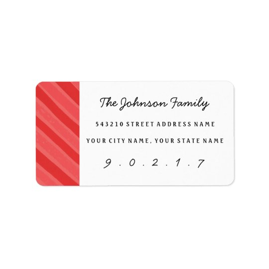 Christmas Watercolor Stripe Custom Address Labels