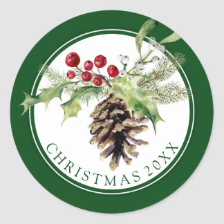 Christmas | Watercolor - Vintage Holly & Pinecone Classic Round Sticker