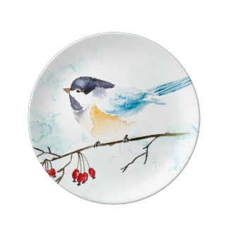 Christmas | Watercolor - Winter Bird & Berries Plate