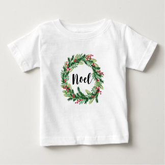 Christmas watercolor wreath baby T-Shirt