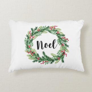 Christmas watercolor wreath decorative pillow